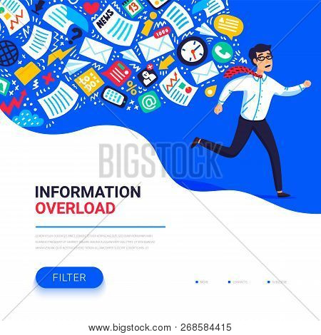 Information Overload Concept. Young Man Running Away From Information Stream Pursuing Him. Concept O