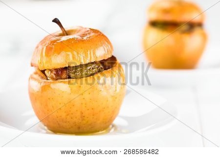 Fresh Baked Stuffed Apple With Walnut, Almond, Raisin, Sultana, Butter, Sugar And Cinnamon, A Tradit