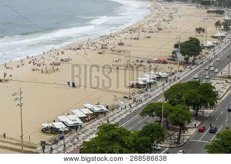 Rio De Janeiro, Brazil - November 10, 2018: View Of Copacabana Beach From Above Building