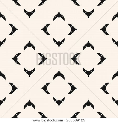 Vector Geometric Floral Seamless Pattern. Simple Abstract Texture With Curved Shapes, Floral Silhoue