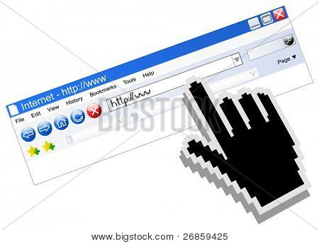 Vector internet browser with computer black hand cursor