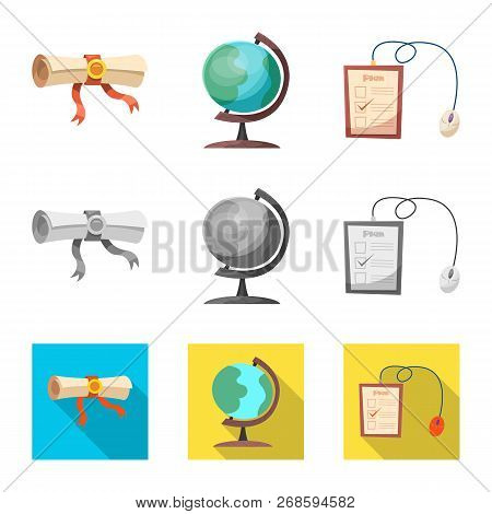 Isolated Object Of Education And Learning Symbol. Set Of Education And School Stock Vector Illustrat