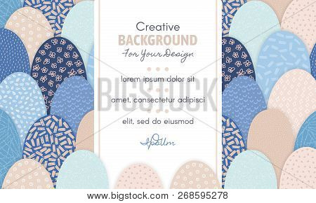 Vector Abstract Background With Frame In Centre And Hand Drawn Textured Arc Shapes. It Looks Like Hi