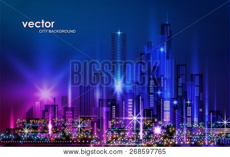 City Skyline Night Cityscape With Illuminated Buildings And Road, Illustration With Architecture, Sk