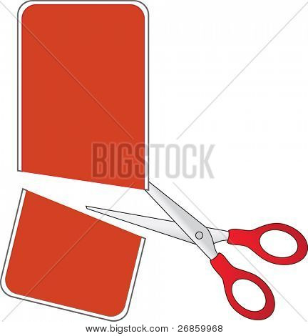 Scissors cutting red price tag, in half - vector