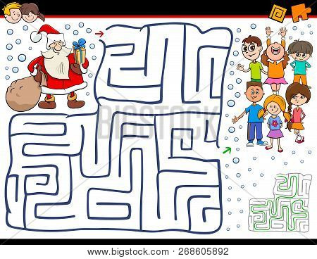 Cartoon Illustration Of Education Maze Or Labyrinth Activity Game For Children With Christmas Santa