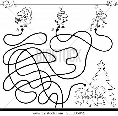 Black And White Cartoon Illustration Of Lines Maze Puzzle Game With Christmas Santa Characters And C