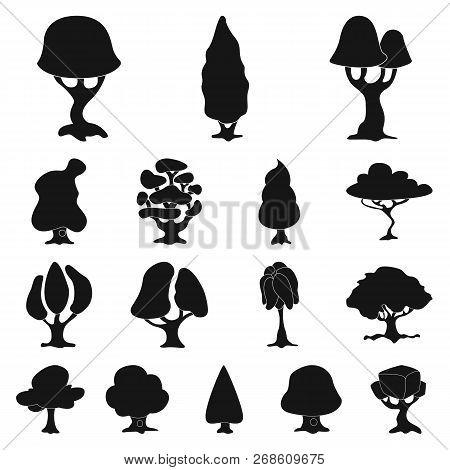 Vector Illustration Of Tree And Nature Icon. Set Of Tree And Crown Vector Icon For Stock.