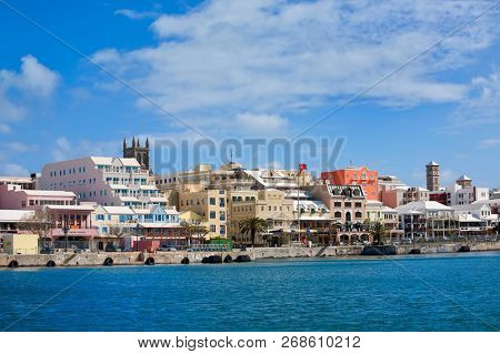 Hamilton, Bermuda - April 2, 2014: Waterfront along the city of Hamilton Bermuda.