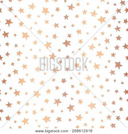 Handdrawn Stars Rose Gold Foil Vector Background. Seamless Pattern For Christmas And Celebrations. H