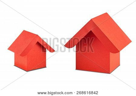 Estate Concept, Paper House On Isolated White Background With Shadow. Idea For Real Estate Concept,