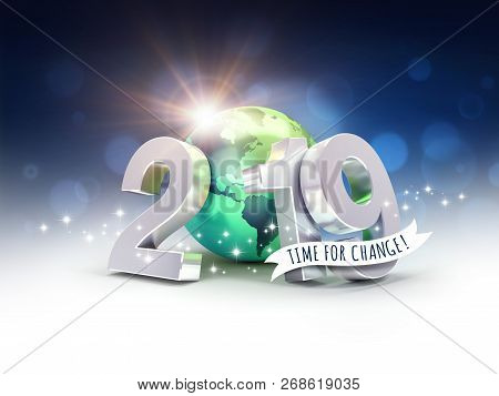 Ecological Greeting Card - 2019 New Year Date Number Composed With A Green Planet Earth, Focused On