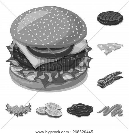 Isolated Object Of Burger And Sandwich Symbol. Collection Of Burger And Slice Stock Symbol For Web.