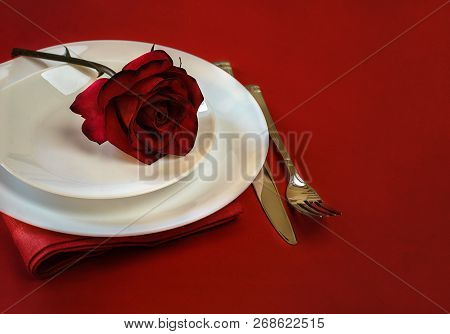 Romantic Table Setting For Valentines Day Or Dinner Date Celebration Wedding Restaurant. Valentines