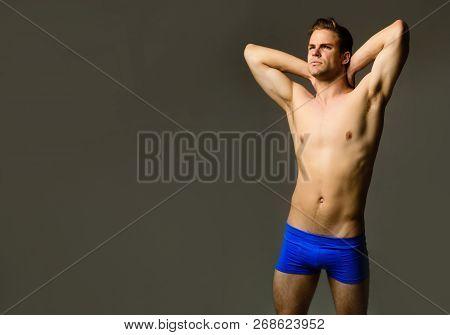 Sexy Fitness Model In Underwear. Fashion Model. Muscular Male Model In Underwear. Handsome Muscular