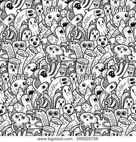 Funny Doodle Monsters Seamless Pattern For Prints, Designs And Coloring Books. Vector Illustration
