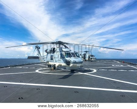 Chonburi, Thailand - June 20, 2016 : Two Sikorsky S-70b Sea Hawk Helicopter Of Royal Thai Navy Parks