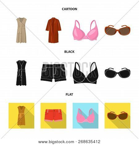 Vector Design Of Woman And Clothing Icon. Set Of Woman And Wear Stock Symbol For Web.