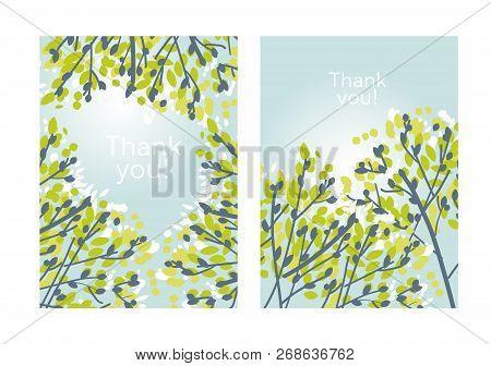 Modern Elegant Tender Spring Tree Branches Design Element. Light Green Sketch Style Leaves And Branc