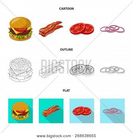 Vector Illustration Of Burger And Sandwich Logo. Collection Of Burger And Slice Stock Symbol For Web