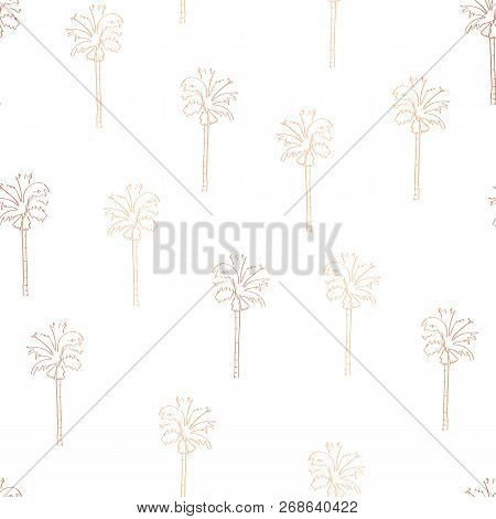 Rose Gold Copper Foil Abstract Palm Trees Seamless Vector Pattern. Shiny Palm Trees On White Backgro