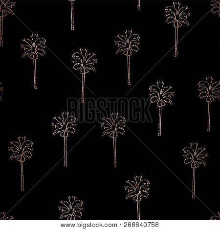 Rose Gold Copper Foil Abstract Palm Trees Seamless Vector Pattern. Shiny Palm Trees On Black Backgro