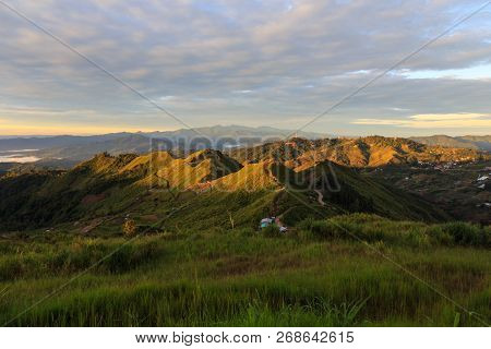 Beautiful Nature Rainforest Sunrise Scene At Sabah, Borneo