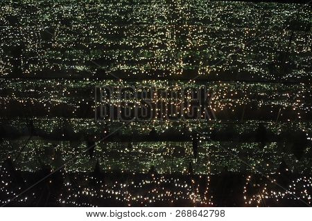 Infinity Room Of Lights And Mirrors Creating The Impression Of Going On Forever, Black And Green