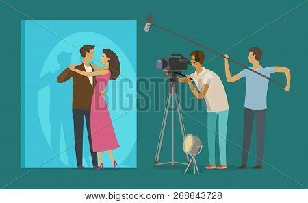 Film Crew Makes A Movie. Cinematograph, Cinema, Filming Concept. Cartoon Vector Illustration