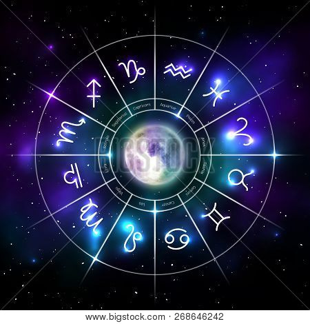 Mystic Zodiac Wheel With Star Signs In Neon. Astrology Circle On Cosmic Background And Moon In Middl