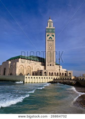 Ornate Hassan II Mosque Against Blue Sky