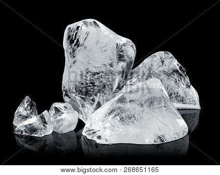Ice Blocks Or Ice Cubes Isolated On Black Background