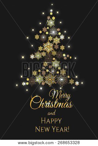 Christmas And New Years Black Gold Background With Christmas Tree Made Of Snowflakes. Ellegant And S