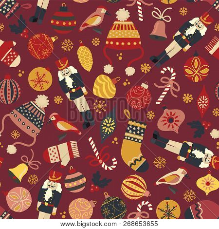 Vintage Christmas Seamless Vector Pattern Background. Nutcracker, Hat, Mitten, Stocking, Candy Cane,