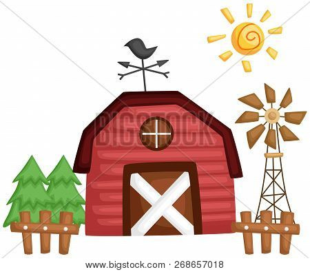 A Vector Of A Barn With Windmill And Tree