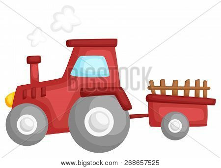 A Vector Of A Tractor Pulling A Cart