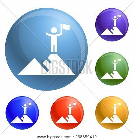 Hight Political Target Icons Set Vector 6 Color Isolated On White Background