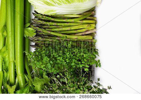 Fresh Green Vegetables. Detox, Diet Or Healthy Food Concept