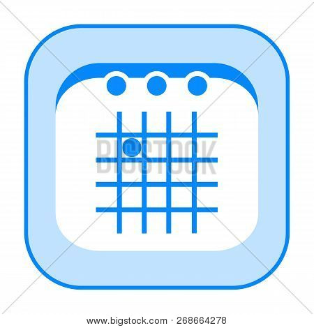 Calendar Icon Isolated On White Background, Blue Rounded Simple Design