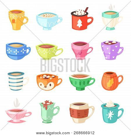 Cartoon Cup Vector Kids Mugs Hot Coffee Or Tea Cupful On Breakfast And Various Shapes Of Coffeecup I