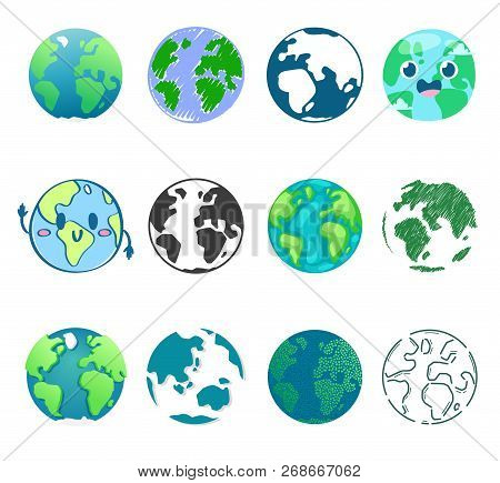 Earth Planet Vector Global World Universe And Worldwide Earthly Universal Globe Illustration Worldly