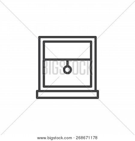 Window Frame With Louvers Outline Icon. Linear Style Sign For Mobile Concept And Web Design. Window