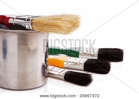 paint buckets, paint and brush isolated on white background
