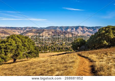 Hiking Trail Leading From San Luis Obispo In California To Cerro Peak. Cerro Is Part Of The Chain Of