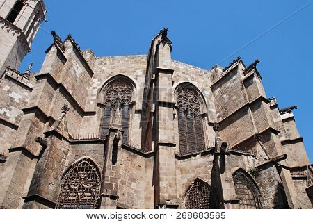 The Cathedral of the Holy Cross and Saint Eulalia in the Gothic Quarter of Barcelona, Spain. Construction of the main building began in 1298.