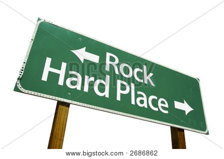 Rock, Hard Place Road Sign Clipping Path, Billboard, Choice, Clear,  Direction, Message, Notice, Not