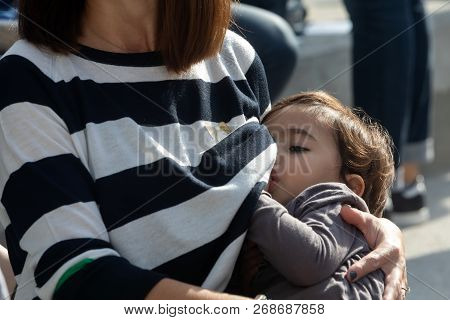 Mother Breastfeeding Her Baby On The 9Th Nationwide Public Breastfeeding In Celebration Of World Bre