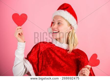Spread Love Around. Girl In Love Happy Wear Santa Costume Celebrate Christmas Pink Background. Merry
