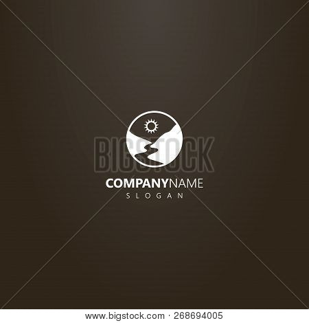 White Logo On A Black Background. Vector Round Logo Of A River Or Footpath Between Mountains
