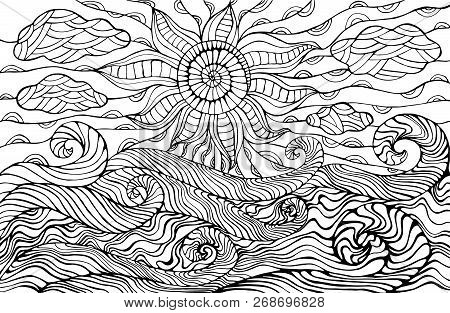 Doodle Sun, Clouds And Ocean Waves Coloring Page For Children And Adults. Fantastic Surreal Sea Land